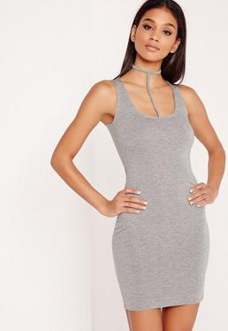 Harness Halter Neck Bodycon Mini Dress Grey