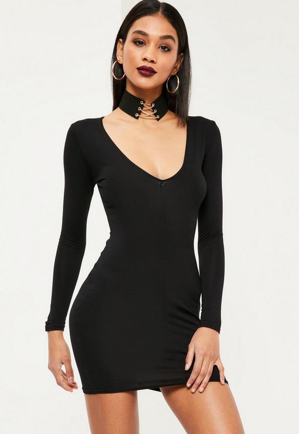 Plunge Long Sleeve Bodycon Dress Black