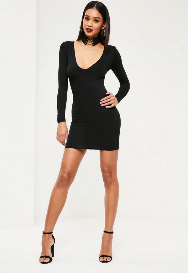 Prime plunge bodycon sleeve black long dress online types olive