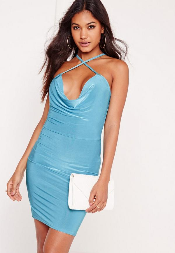 Cowl Front Slinky Bodycon Dress Blue