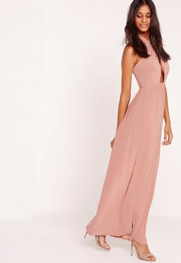 Cross Halter Neck Slinky Maxi Dress Pink