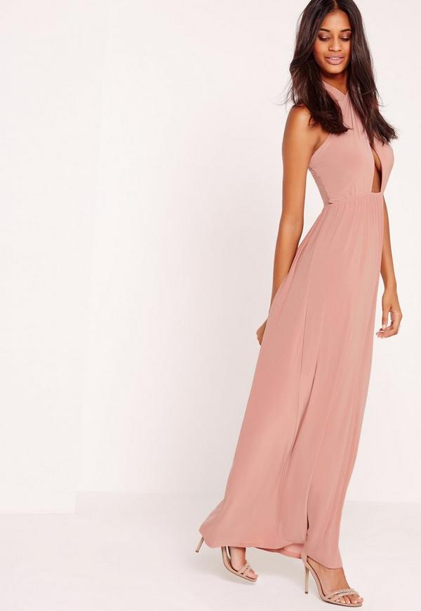 Cross Halter Neck Slinky Maxi Dress Pink