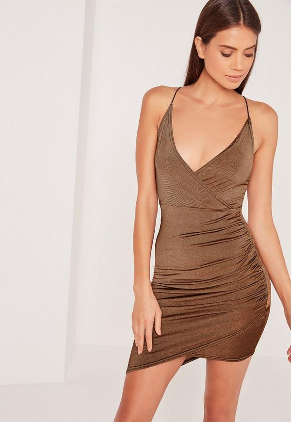 Brown Strappy Wrap Bodycon Dress