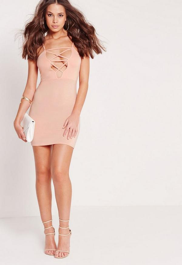 Lace Up Front Plunge Bodycon Dress Nude