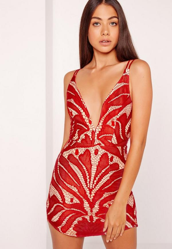 Strappy Plunge Lace Contrast Bodycon Dress Red