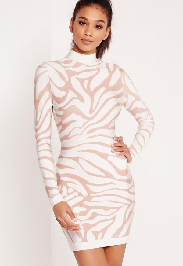 Premium Zebra Print Bandage Bodycon Dress White