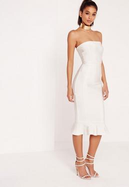 Premium Bandage Frill Hem Bandeau Midi Dress White