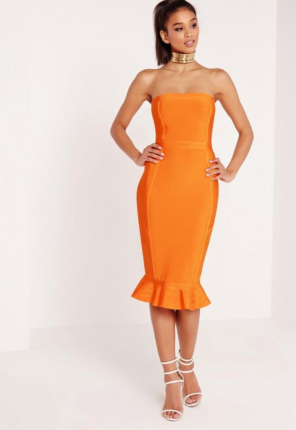 Premium Bandage Bandeau Frill Hem Midi Dress Orange