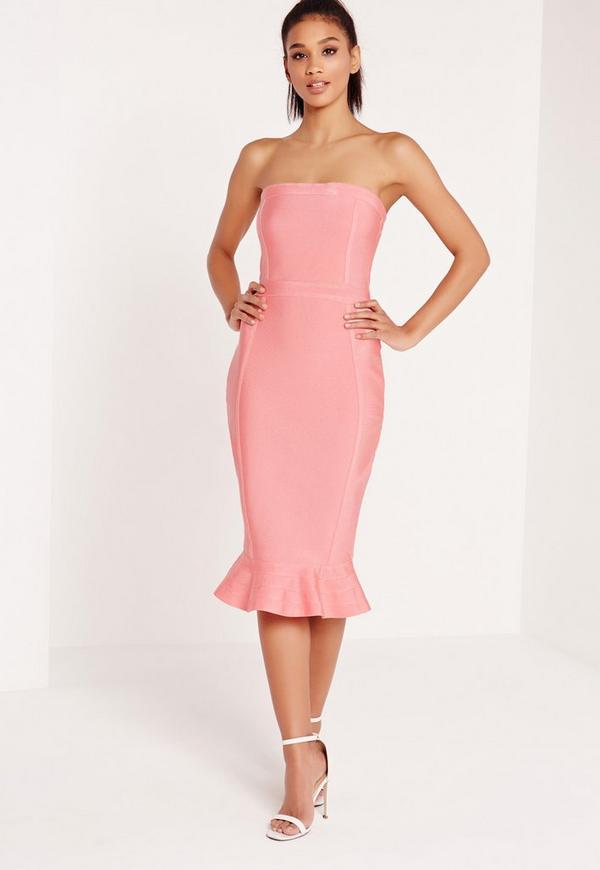 Premium Bandage Bandeau Frill Hem Midi Dress Pink