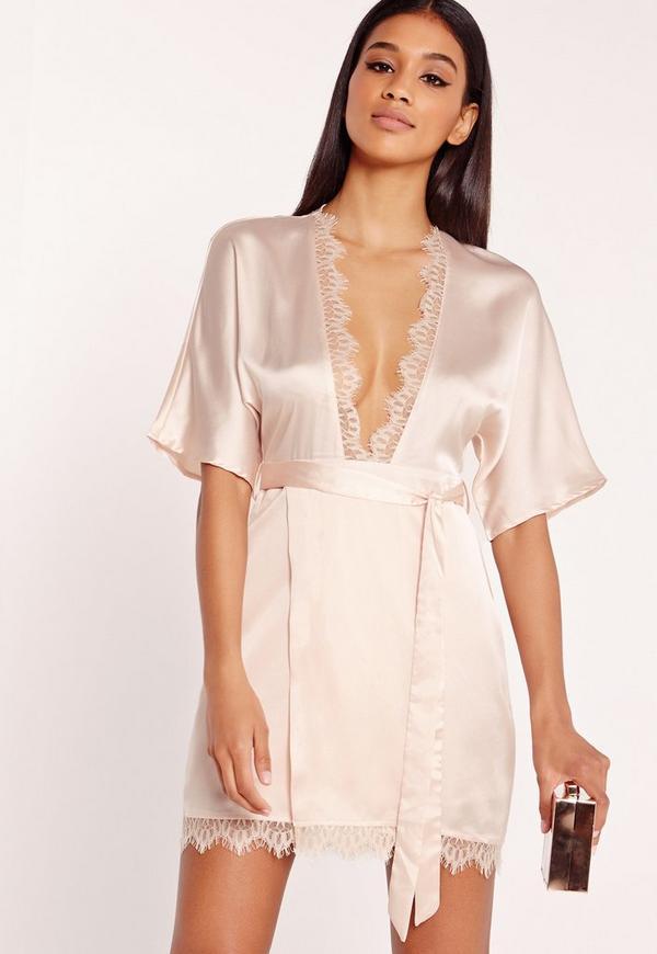 Silky Lace Trim Kimono Wrap Dress Nude