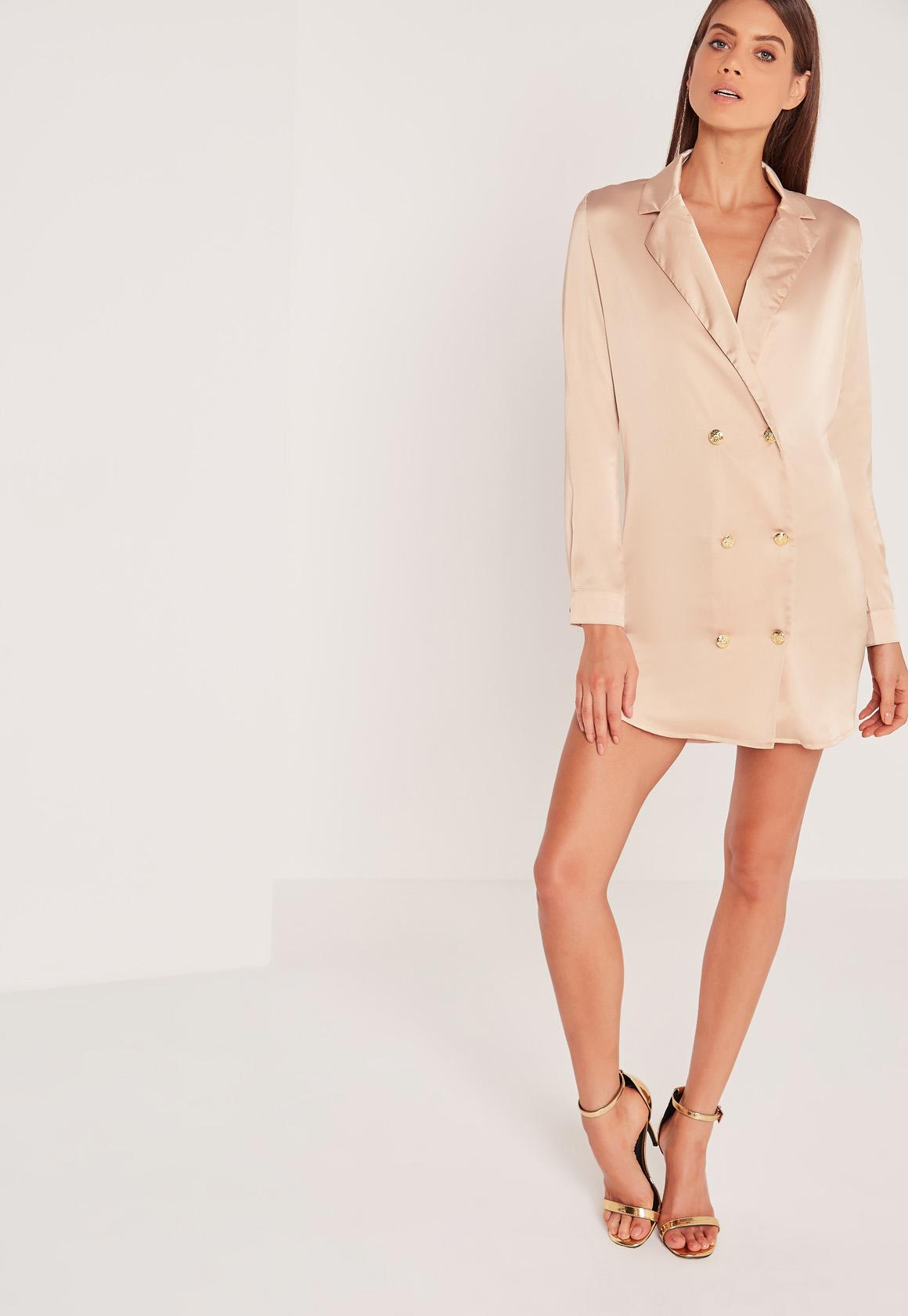 Silky Button Up Shirt Dress Champagne