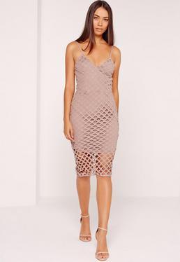 Strappy Lattice Midi Dress Mauve