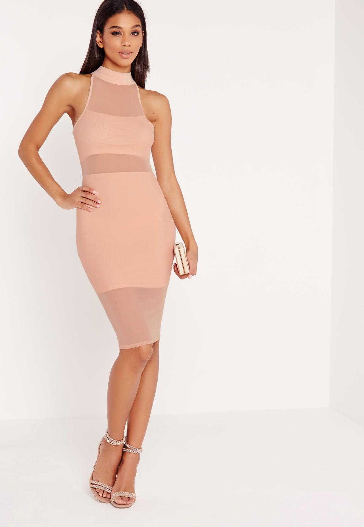 Nude High Neck Mesh Detail Midi Dress Pretty Little Thing Free Shipping Factory Outlet Visit New Cheap Online Cheap Sale Clearance Store Cheap Sale Genuine Popular Sale Online lp8kBqgT