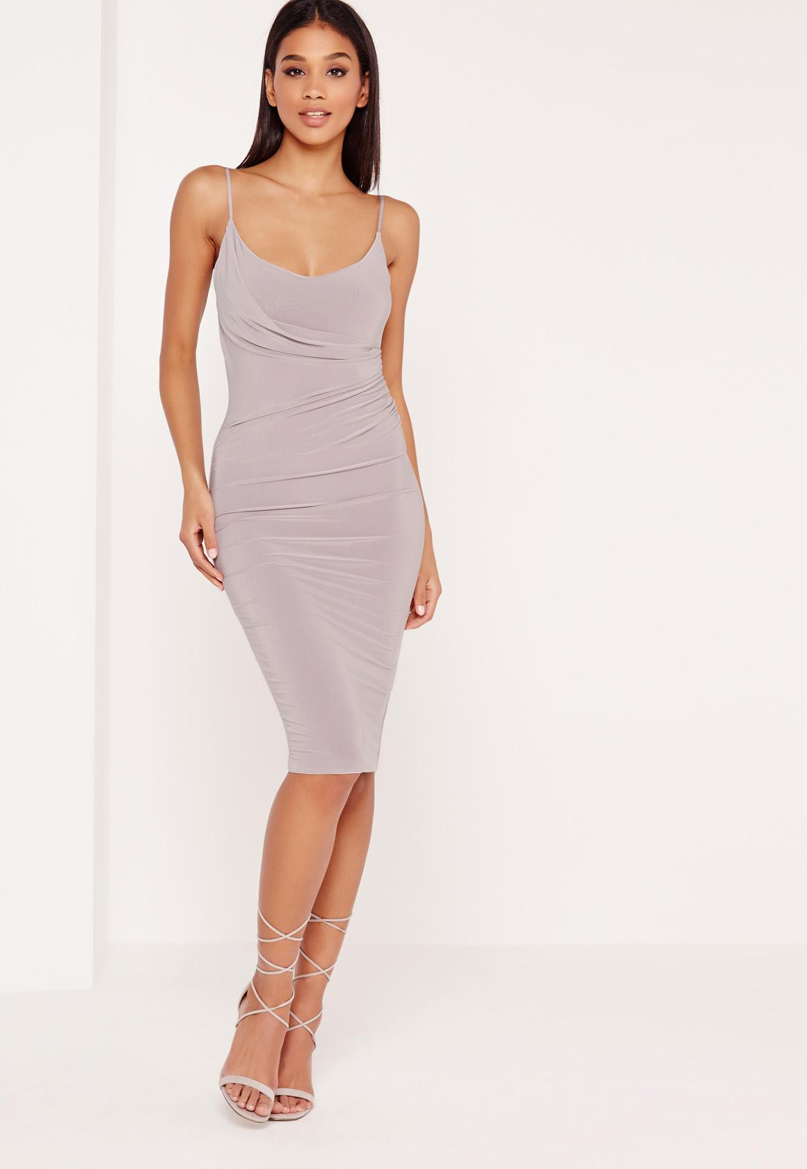 slinky strappy wrap midi dress grey - Missguided