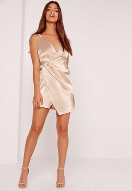 Silky Wrap Strappy Dress Nude