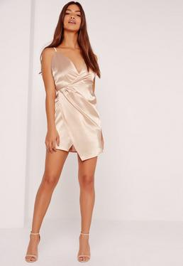 Silky Wrap Strappy Dress Nude