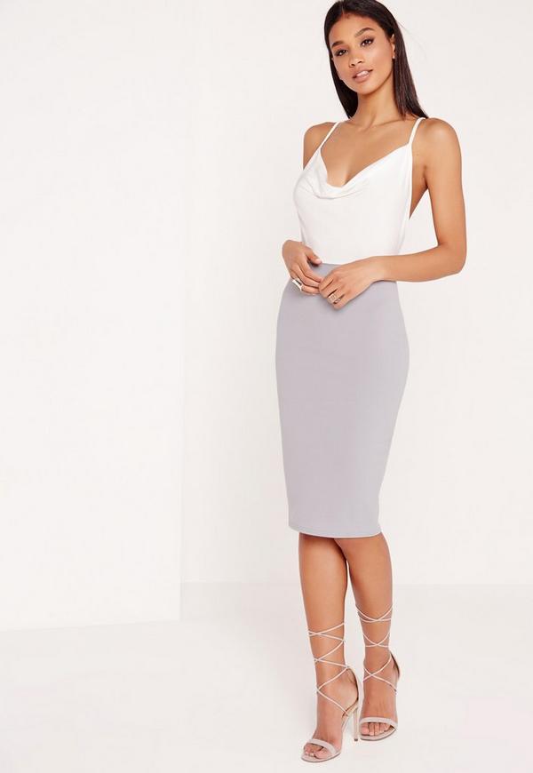 Contrast Cowl Neck Midi Dress Grey