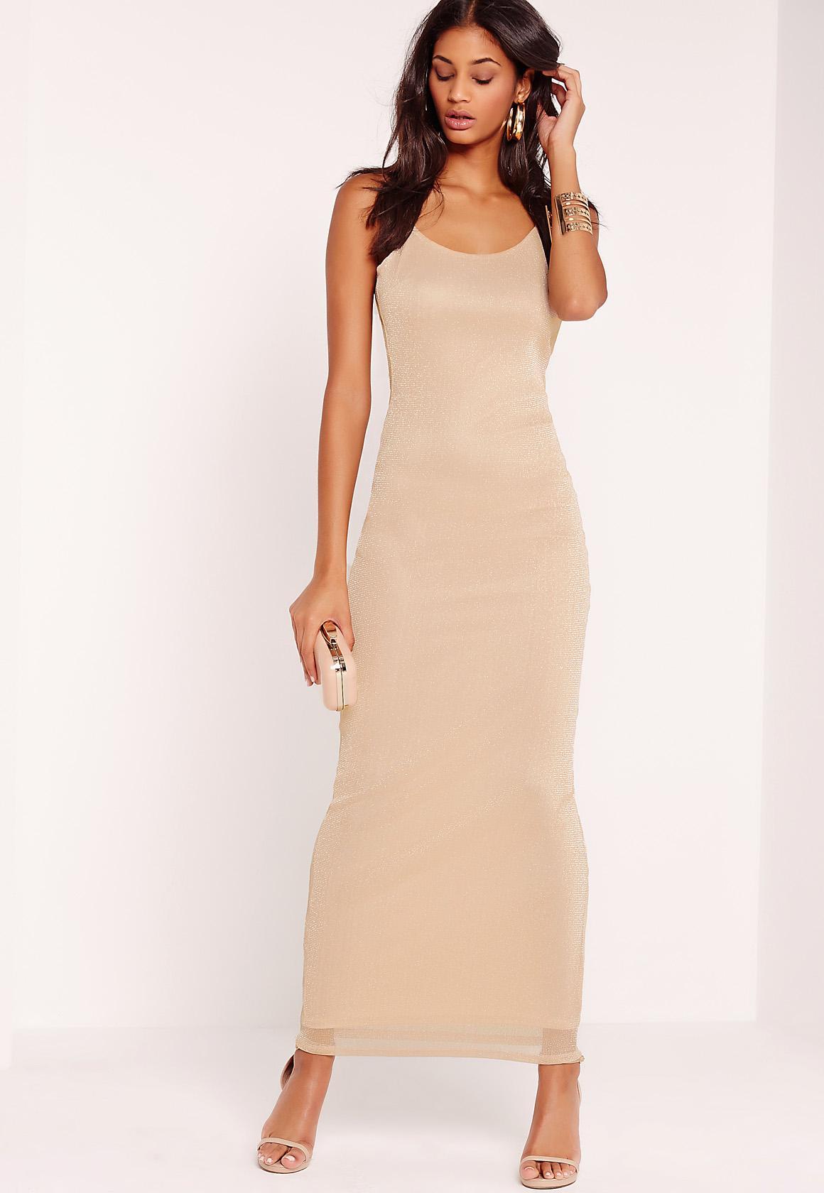 Mesh Overlay Maxi Dress Nude