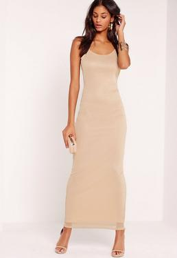 Mesh Overlay Maxi Dress Nude