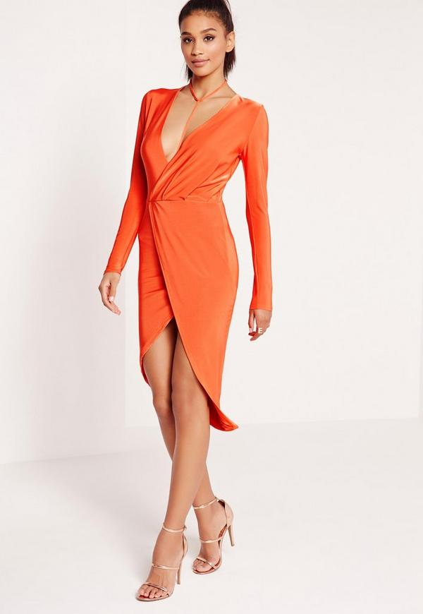 Wrap Harness Slinky Midi Dress Orange