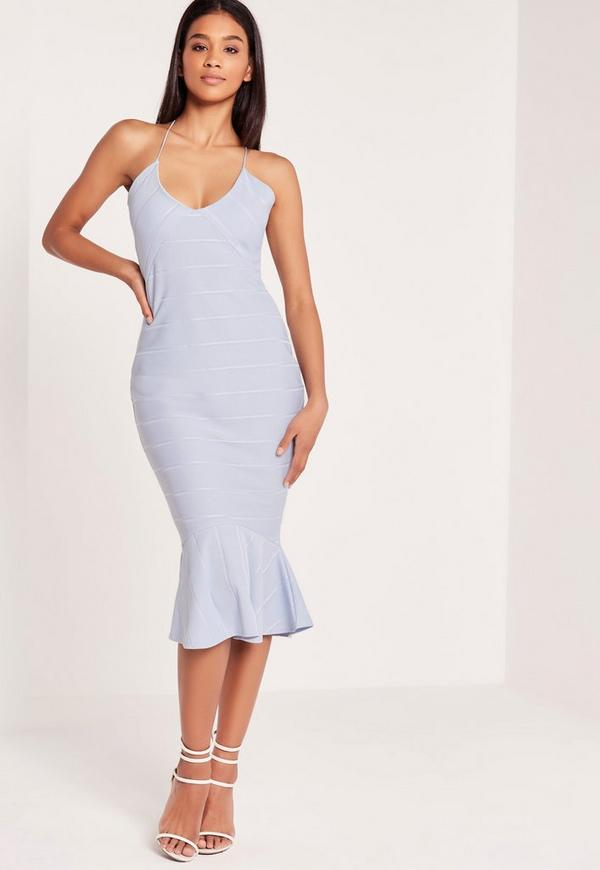 Fishtail Bodycon Midi Dress Dusky Blue-16