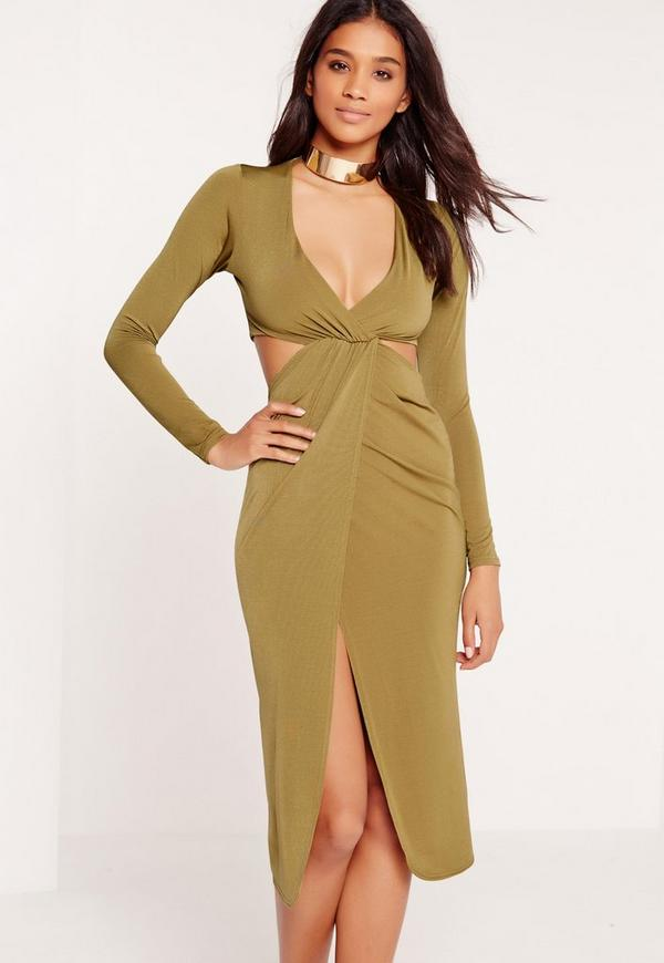 Cut Out Wrap Midi Dress Olive