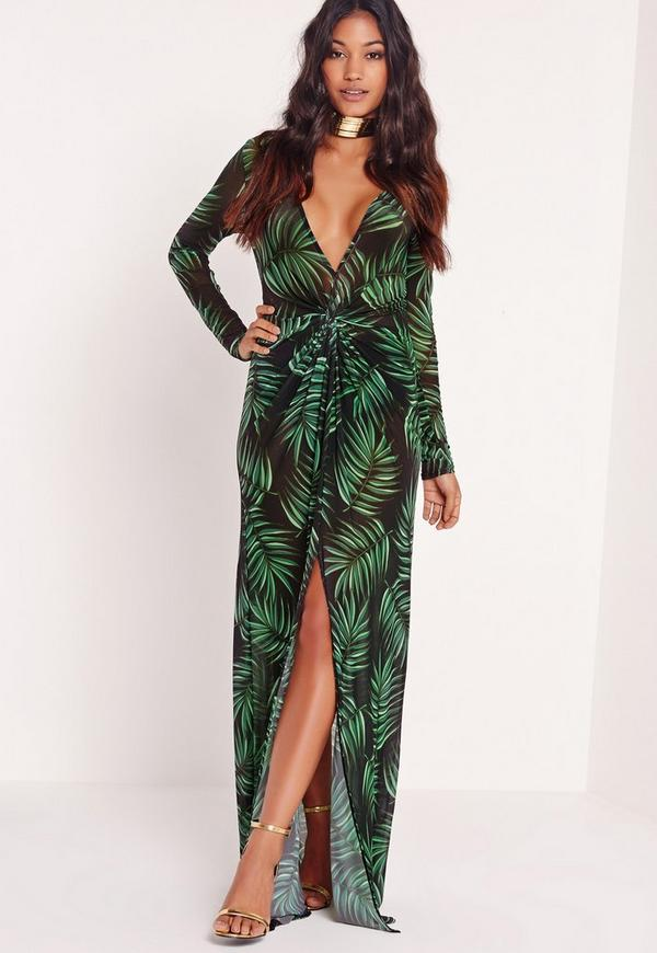 Long Sleeve Wrap Mesh Maxi Dress Leaf Print