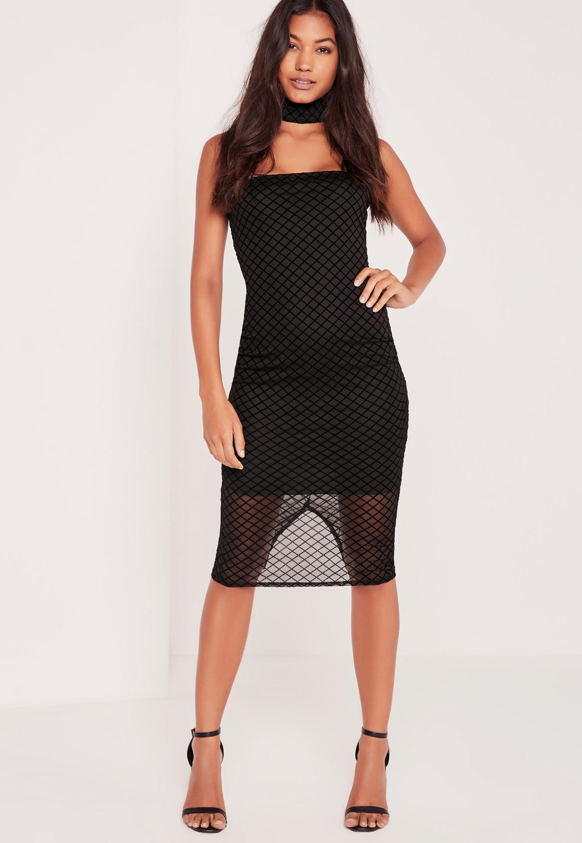 Choker Grid Mesh Dress Black