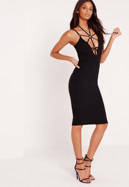 Harness Neck Bodycon Midi Dress Black