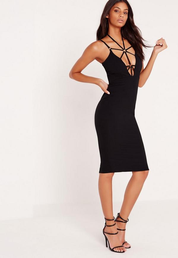 Harness Neck Bodycon Midi Dress Black