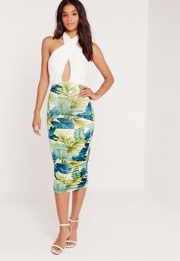 Leaf Print Ruched Wrap Front Midi Dress Green
