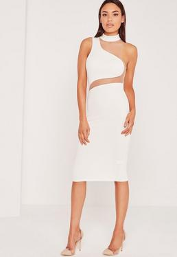 Asymmetric Neck Mesh Insert Midi Dress White
