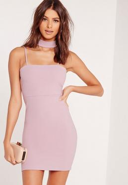 Choker Neck Bodycon Dress Mauve