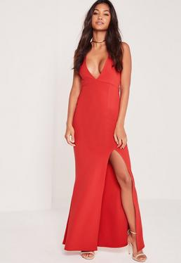 Plunge Split Front Slinky Maxi Dress Red