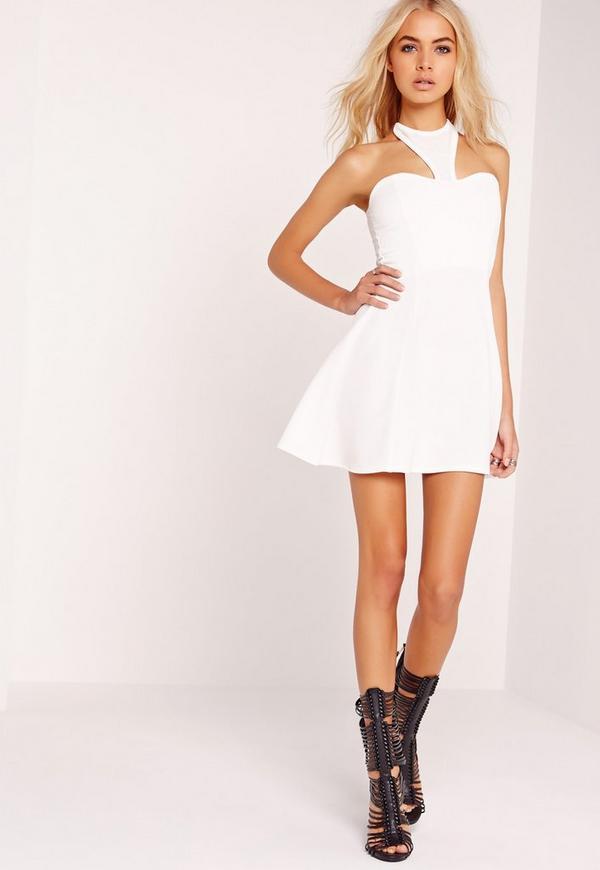 Crepe Halter Neck Skater Dress White