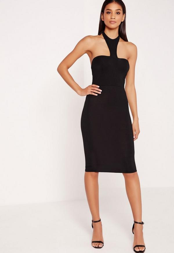 Jersey Halter Neck Bodycon Midi Dress Black