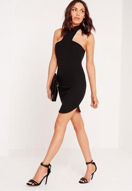 Ponte Halter Curve Hem Bodycon Dress Black