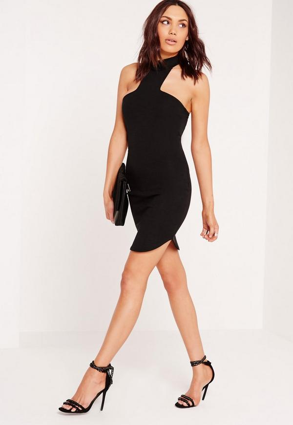 Ponte Halter Curve Hem Bodycon Dress Black