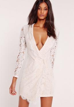 Lace Wrap Blazer Dress White