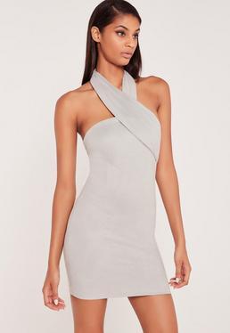 Carli Bybel Faux Suede Wrap Neck Bodycon Dress Grey