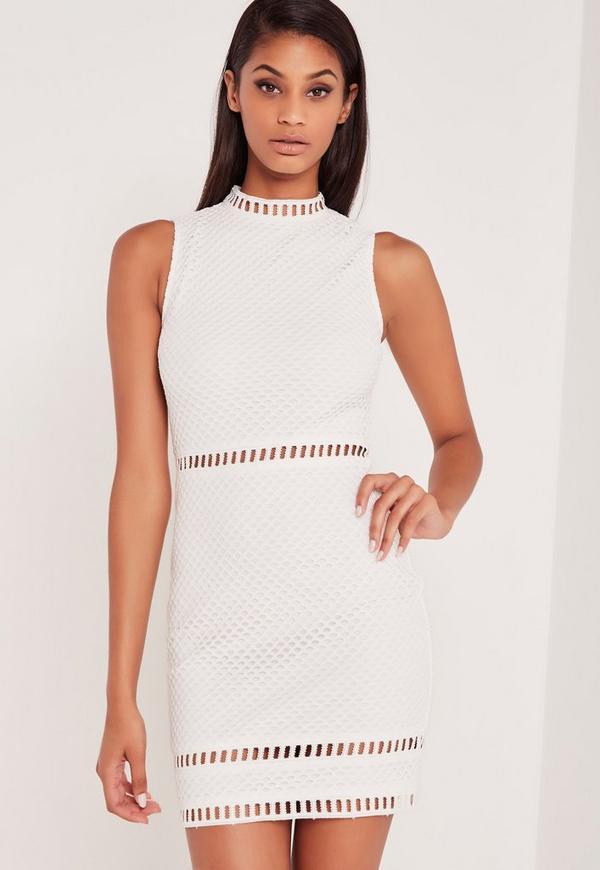 Carli Bybel High Neck Lace Bodycon Dress White