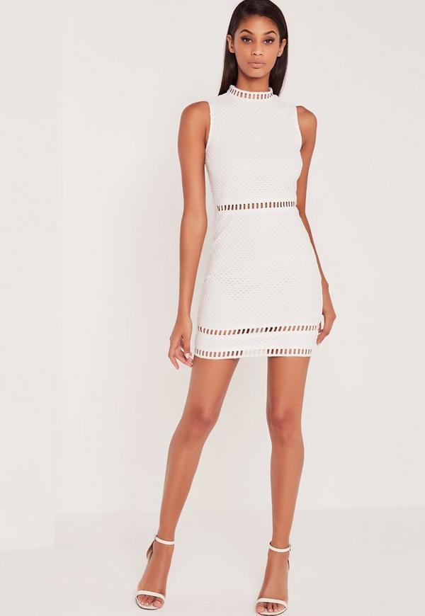 Johnson city white lace high neck bodycon dress live large