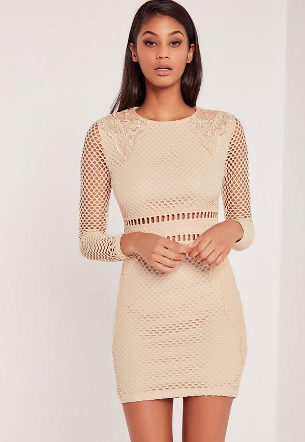 Carli Bybel Premium Lace Bodycon Dress Nude