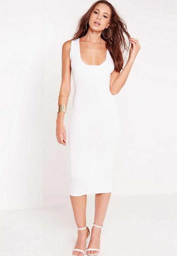 Jersey Square Neck Midi Dress White Missguided
