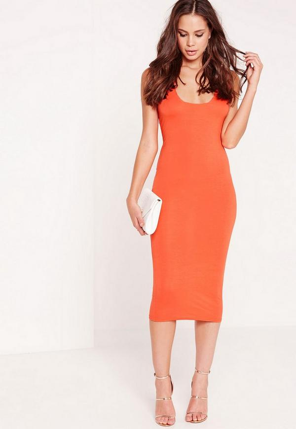 Jersey Square Bust Midi Dress Orange