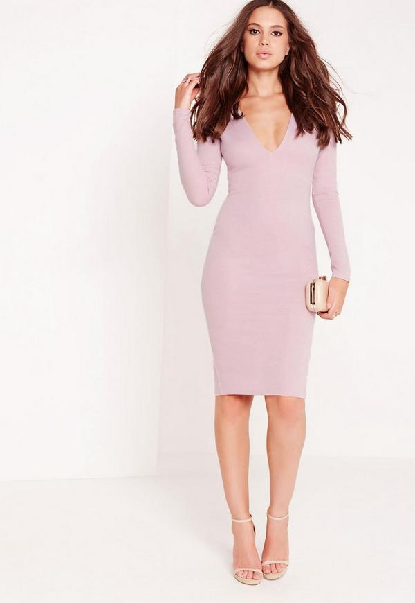 Long Sleeve Ponte Plunge Midi Dress Lilac