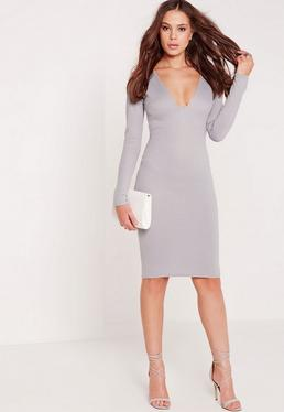 Long Sleeve Ponte Plunge Midi Dress Grey