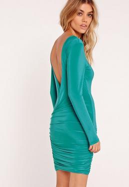 Slinky Drape Back Ruched Bodycon Dress Blue