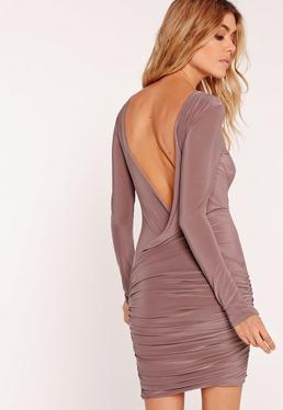 Slinky Drape Back Ruched Bodycon Dress Mauve