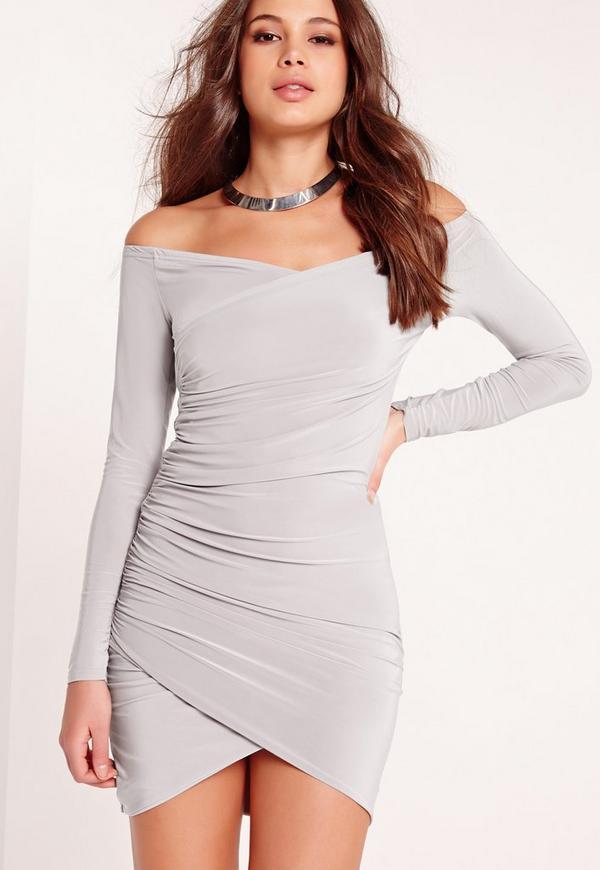 Slinky Bardot Bodycon Dress Grey
